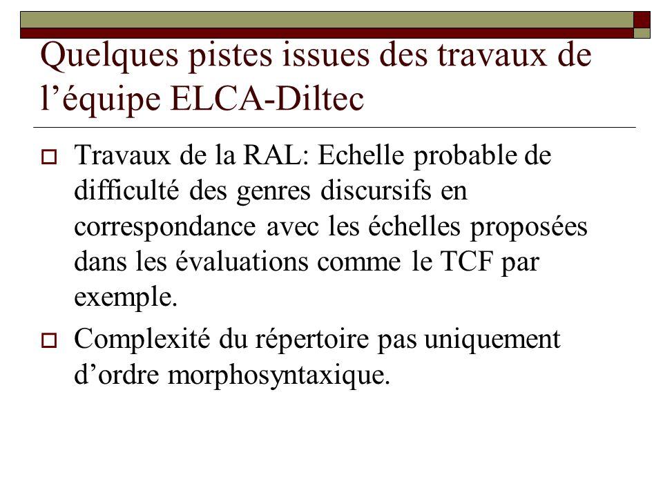 Quelques pistes issues des travaux de léquipe ELCA-Diltec Travaux de la RAL: Echelle probable de difficulté des genres discursifs en correspondance avec les échelles proposées dans les évaluations comme le TCF par exemple.