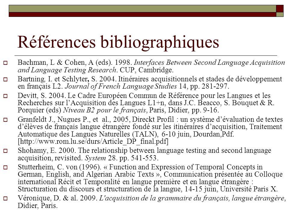 Références bibliographiques Bachman, L & Cohen, A (eds).