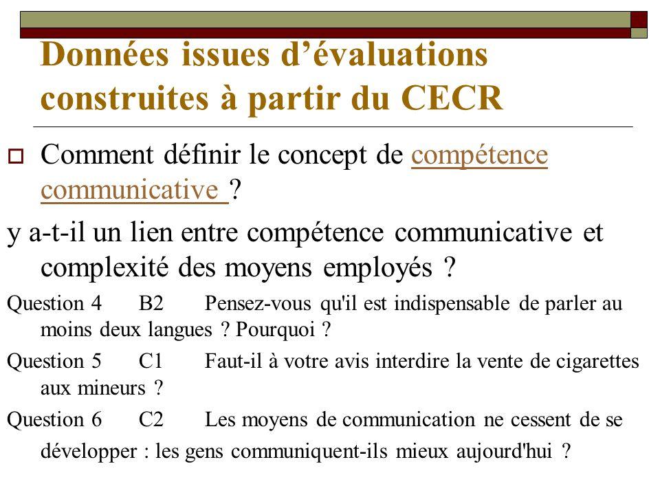 Données issues dévaluations construites à partir du CECR Comment définir le concept de compétence communicative compétence communicative y a-t-il un lien entre compétence communicative et complexité des moyens employés .