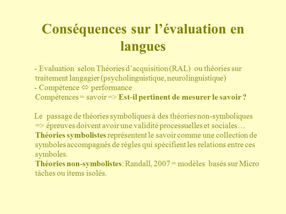 Conséquences sur lévaluation en langues - Evaluation selon Théories dacquisition (RAL) ou théories sur traitement langagier (psycholinguistique, neuro