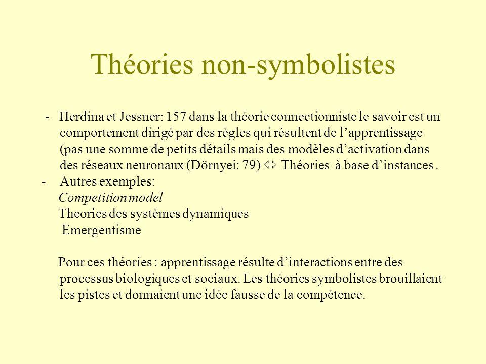 Théories non-symbolistes - Herdina et Jessner: 157 dans la théorie connectionniste le savoir est un comportement dirigé par des règles qui résultent d