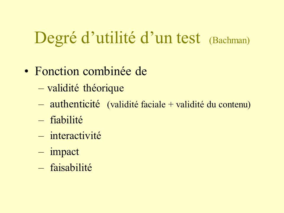 Degré dutilité dun test (Bachman) Fonction combinée de –validité théorique – authenticité (validité faciale + validité du contenu) – fiabilité – inter