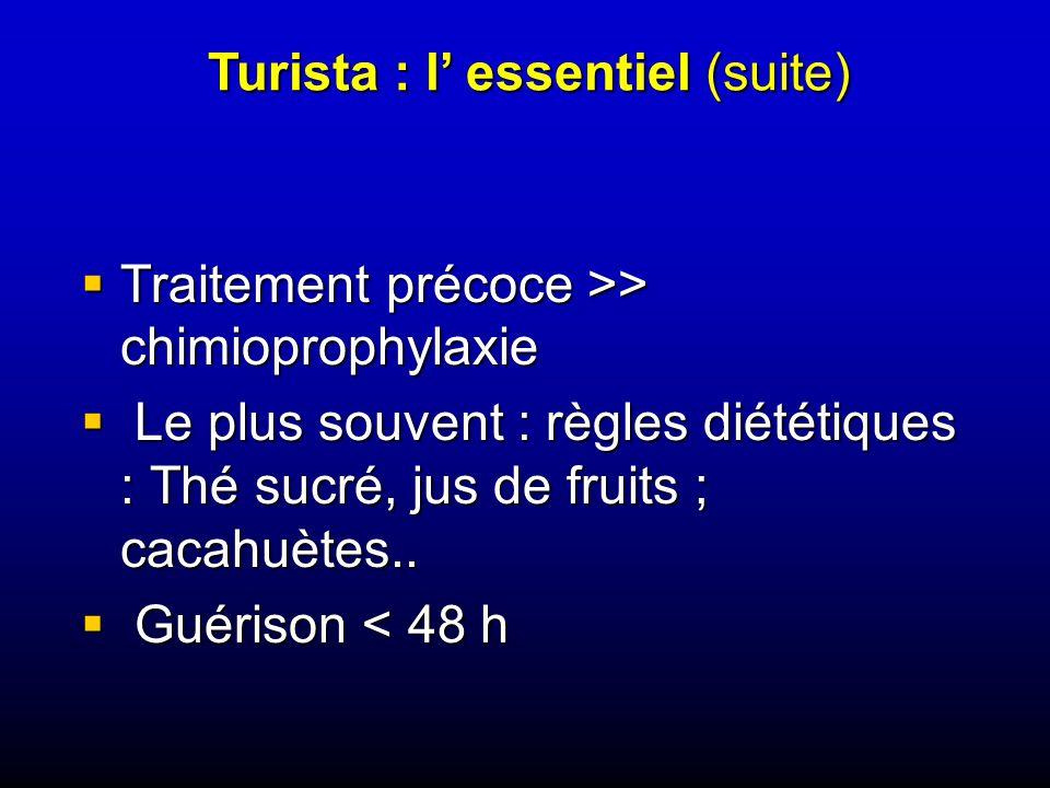 Traitement précoce >> chimioprophylaxie Traitement précoce >> chimioprophylaxie Le plus souvent : règles diététiques : Thé sucré, jus de fruits ; cacahuètes..