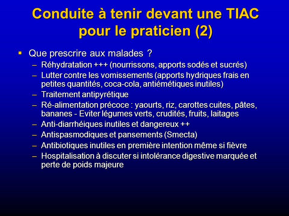 Conduite à tenir devant une TIAC pour le praticien (2) Que prescrire aux malades .