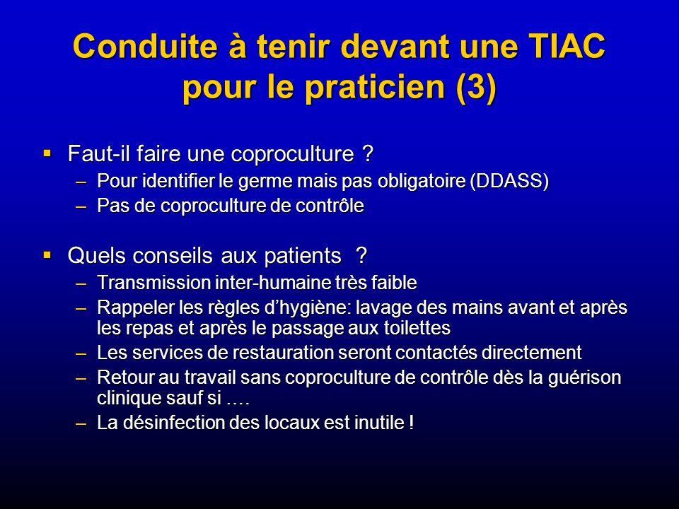 Conduite à tenir devant une TIAC pour le praticien (3) Faut-il faire une coproculture .