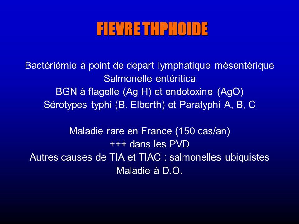 FIEVRE THPHOIDE Bactériémie à point de départ lymphatique mésentérique Salmonelle entéritica BGN à flagelle (Ag H) et endotoxine (AgO) Sérotypes typhi (B.