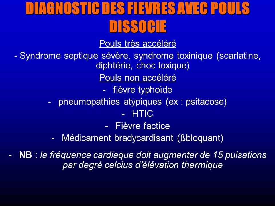 DIAGNOSTIC DES FIEVRES AVEC POULS DISSOCIE Pouls très accéléré - Syndrome septique sévère, syndrome toxinique (scarlatine, diphtérie, choc toxique) Pouls non accéléré - -fièvre typhoïde - -pneumopathies atypiques (ex : psitacose) - -HTIC - -Fièvre factice - -Médicament bradycardisant (ßbloquant) - -NB : la fréquence cardiaque doit augmenter de 15 pulsations par degré celcius délévation thermique