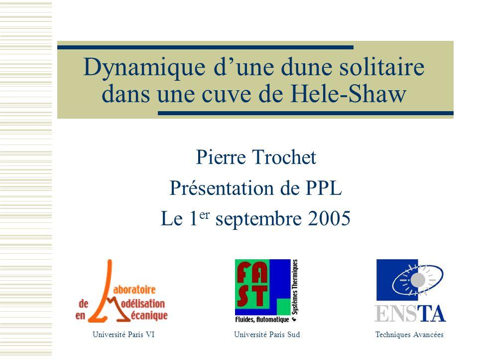 Dynamique dune dune solitaire dans une cuve de Hele-Shaw Pierre Trochet Présentation de PPL Le 1 er septembre 2005 Université Paris SudUniversité Paris VITechniques Avancées