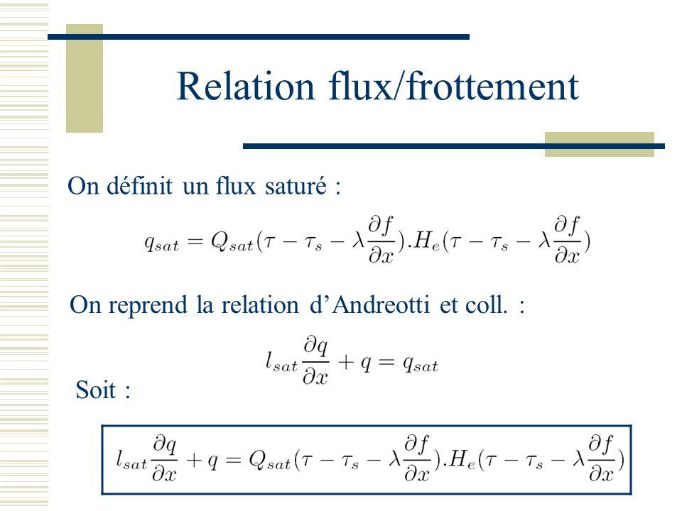 Relation flux/frottement On définit un flux saturé : On reprend la relation dAndreotti et coll.