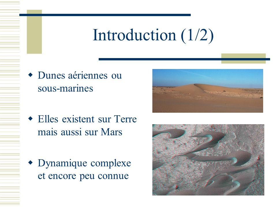 Introduction (1/2) Dunes aériennes ou sous-marines Elles existent sur Terre mais aussi sur Mars Dynamique complexe et encore peu connue