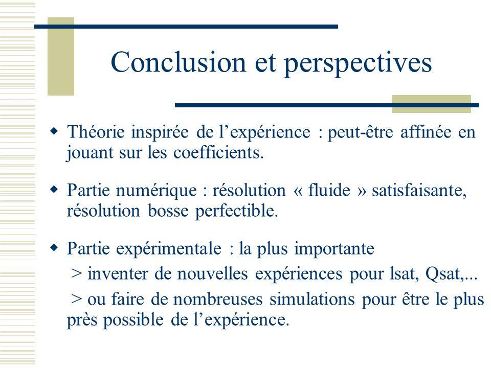 Conclusion et perspectives Théorie inspirée de lexpérience : peut-être affinée en jouant sur les coefficients.