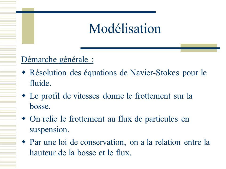 Modélisation Résolution des équations de Navier-Stokes pour le fluide.