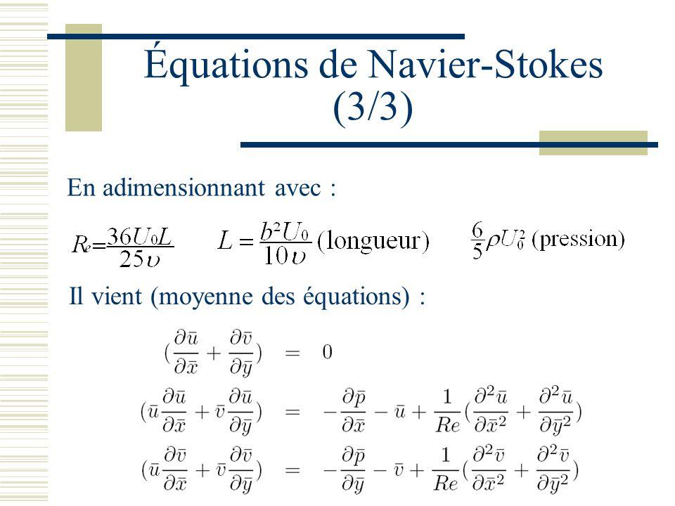 Équations de Navier-Stokes (3/3) En adimensionnant avec : Il vient (moyenne des équations) :