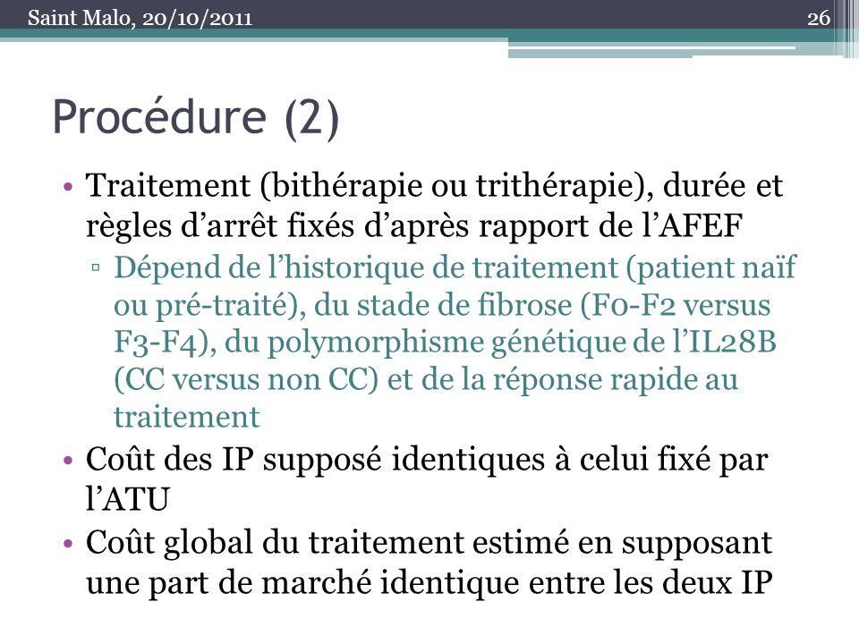 Procédure (2) Traitement (bithérapie ou trithérapie), durée et règles darrêt fixés daprès rapport de lAFEF Dépend de lhistorique de traitement (patien