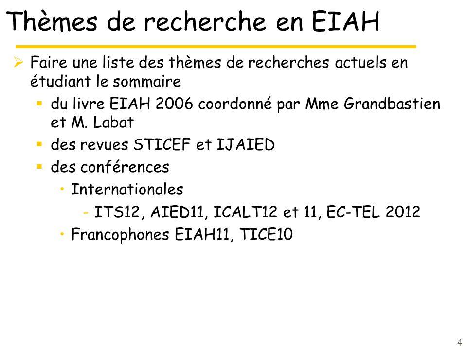 Thèmes de recherche en EIAH Faire une liste des thèmes de recherches actuels en étudiant le sommaire du livre EIAH 2006 coordonné par Mme Grandbastien et M.