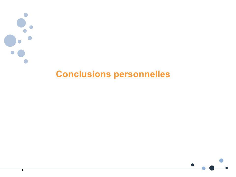 14 Conclusions personnelles
