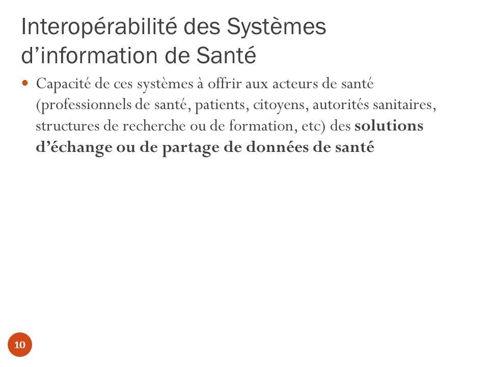 Interopérabilité des Systèmes dinformation de Santé 10 Capacité de ces systèmes à offrir aux acteurs de santé (professionnels de santé, patients, citoyens, autorités sanitaires, structures de recherche ou de formation, etc) des solutions déchange ou de partage de données de santé