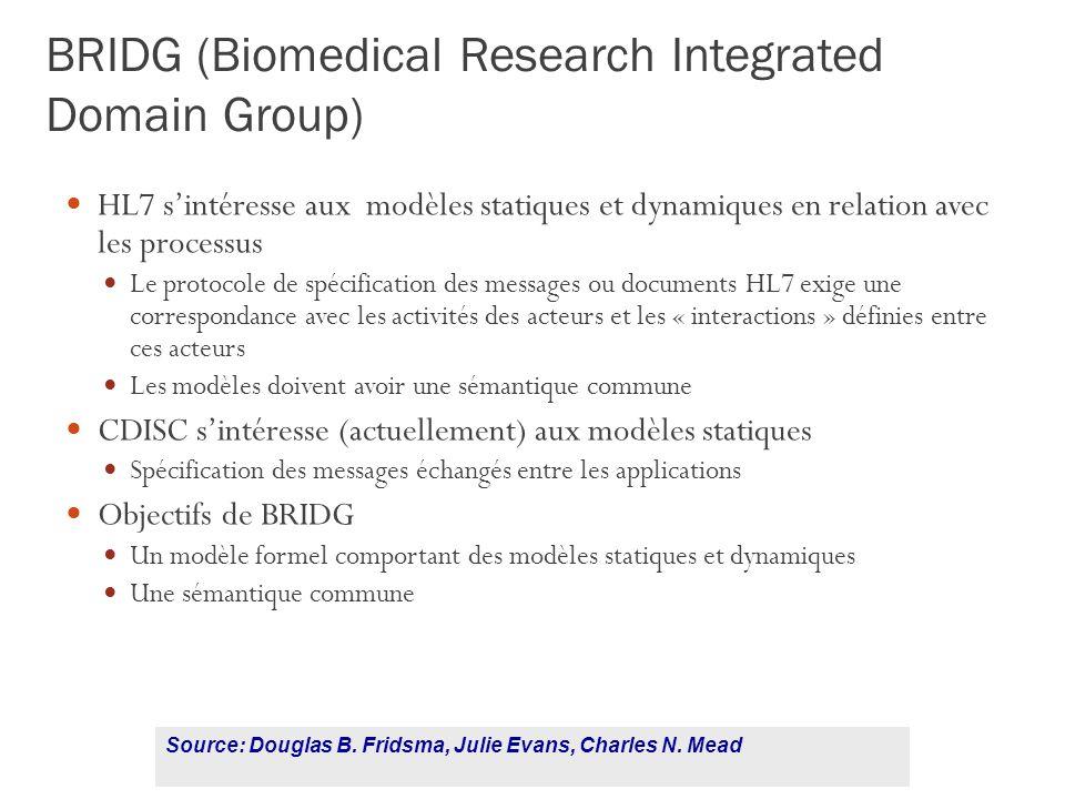 118 BRIDG (Biomedical Research Integrated Domain Group) HL7 sintéresse aux modèles statiques et dynamiques en relation avec les processus Le protocole de spécification des messages ou documents HL7 exige une correspondance avec les activités des acteurs et les « interactions » définies entre ces acteurs Les modèles doivent avoir une sémantique commune CDISC sintéresse (actuellement) aux modèles statiques Spécification des messages échangés entre les applications Objectifs de BRIDG Un modèle formel comportant des modèles statiques et dynamiques Une sémantique commune Source: Douglas B.