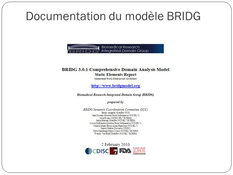 121 Documentation du modèle BRIDG