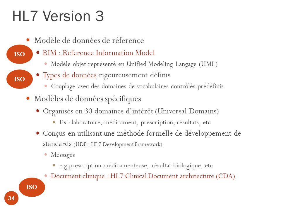 HL7 Version 3 34 Modèle de données de réference RIM : Reference Information Model Modèle objet représenté en Unified Modeling Langage (UML) Types de données rigoureusement définis Couplage avec des domaines de vocabulaires contrôlés prédéfinis Modèles de données spécifiques Organisés en 30 domaines dintérêt (Universal Domains) Ex : laboratoire, médicament, prescription, résultats, etc Conçus en utilisant une méthode formelle de développement de standards (HDF : HL7 Development Framework) Messages e.g prescription médicamenteuse, résultat biologique, etc Document clinique : HL7 Clinical Document architecture (CDA) 34 ISO