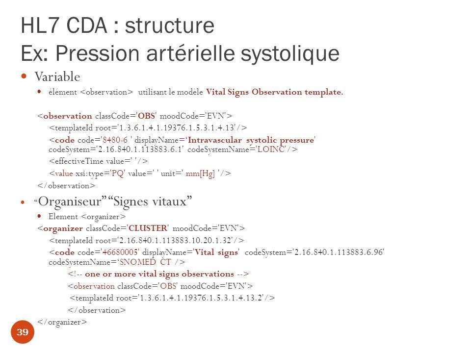 HL7 CDA : structure Ex: Pression artérielle systolique Variable élément utilisant le modèle Vital Signs Observation template.