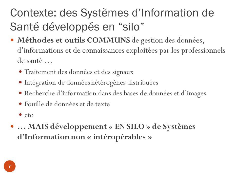 Contexte: des Systèmes dInformation de Santé développés en silo 7 Méthodes et outils COMMUNS de gestion des données, dinformations et de connaissances exploitées par les professionnels de santé … Traitement des données et des signaux Intégration de données hétérogènes distribuées Recherche dinformation dans des bases de données et dimages Fouille de données et de texte etc … MAIS développement « EN SILO » de Systèmes dInformation non « intéropérables »