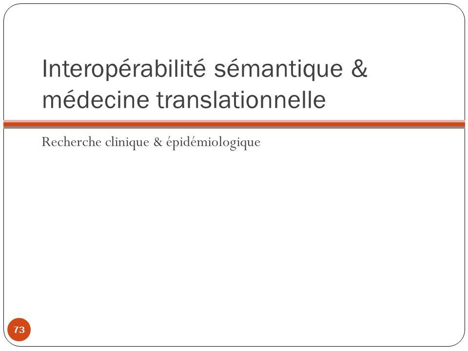 Interopérabilité sémantique & médecine translationnelle Recherche clinique & épidémiologique 73