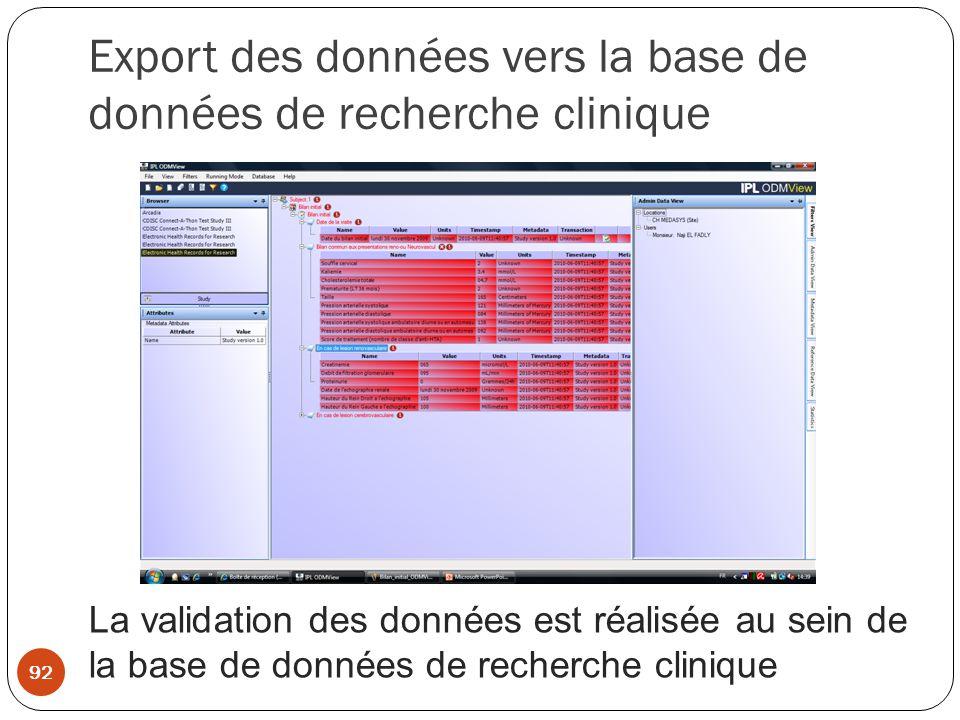 Export des données vers la base de données de recherche clinique La validation des données est réalisée au sein de la base de données de recherche clinique 92