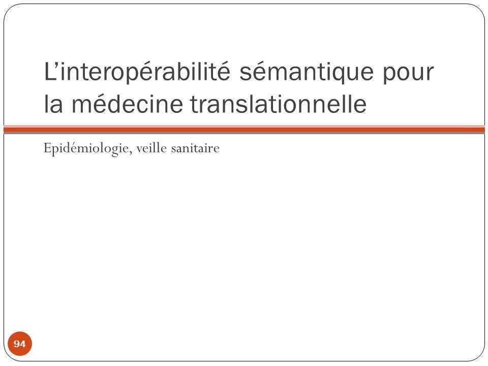 Linteropérabilité sémantique pour la médecine translationnelle Epidémiologie, veille sanitaire 94
