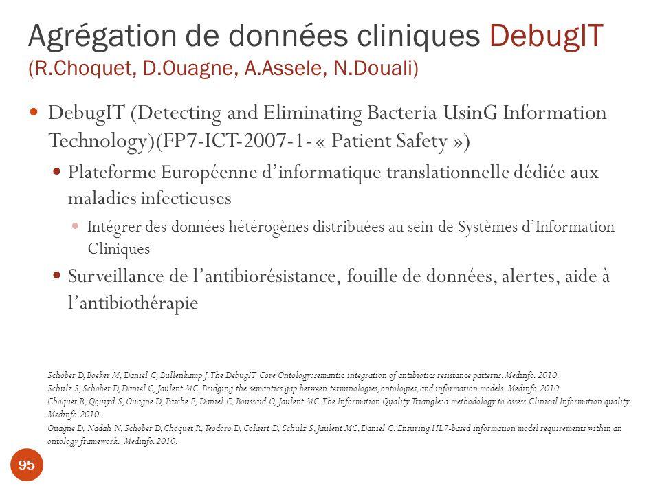 Agrégation de données cliniques DebugIT (R.Choquet, D.Ouagne, A.Assele, N.Douali) 95 DebugIT (Detecting and Eliminating Bacteria UsinG Information Technology)(FP7-ICT-2007-1- « Patient Safety ») Plateforme Européenne dinformatique translationnelle dédiée aux maladies infectieuses Intégrer des données hétérogènes distribuées au sein de Systèmes dInformation Cliniques Surveillance de lantibiorésistance, fouille de données, alertes, aide à lantibiothérapie Schober D, Boeker M, Daniel C, Bullenkamp J.