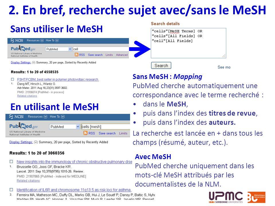 Sans MeSH : Mapping PubMed cherche automatiquement une correspondance avec le terme recherché : dans le MeSH, puis dans lindex des titres de revue, pu