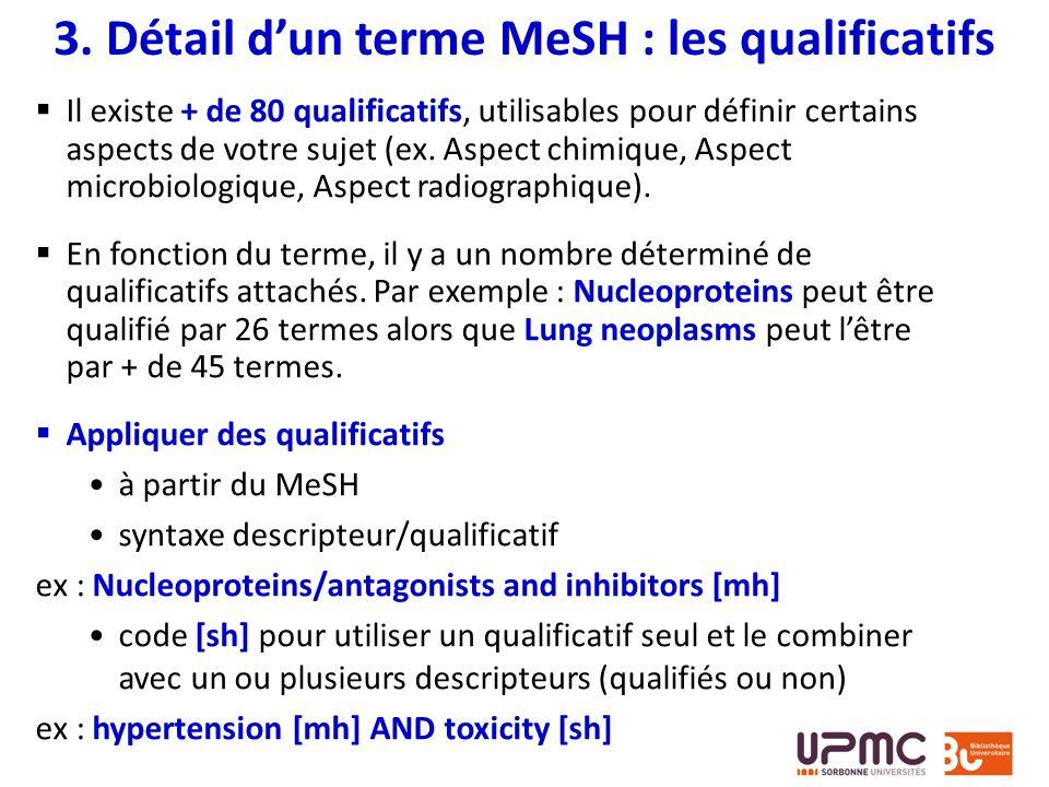Il existe + de 80 qualificatifs, utilisables pour définir certains aspects de votre sujet (ex. Aspect chimique, Aspect microbiologique, Aspect radiogr