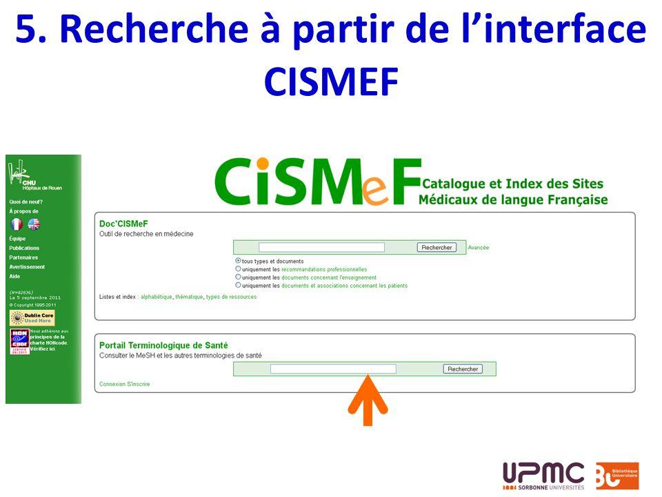5. Recherche à partir de linterface CISMEF