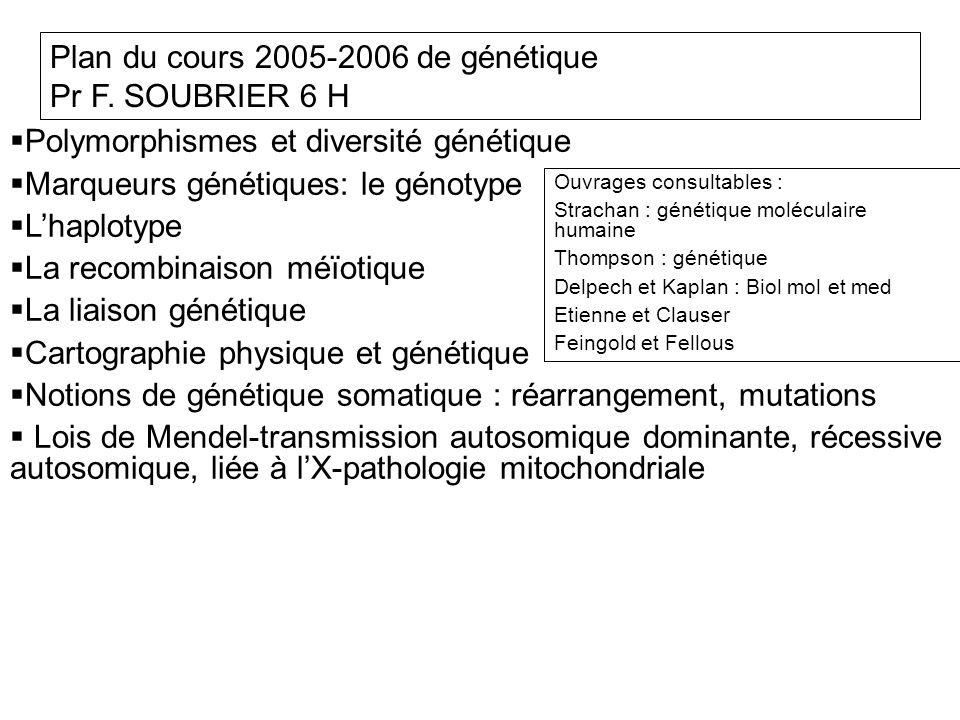 Polymorphismes et diversité génétique Marqueurs génétiques: le génotype Lhaplotype La recombinaison méïotique La liaison génétique Cartographie physique et génétique Notions de génétique somatique : réarrangement, mutations Lois de Mendel-transmission autosomique dominante, récessive autosomique, liée à lX-pathologie mitochondriale Plan du cours 2005-2006 de génétique Pr F.