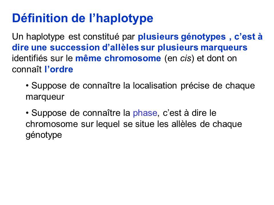 Définition de lhaplotype Un haplotype est constitué par plusieurs génotypes, cest à dire une succession dallèles sur plusieurs marqueurs identifiés sur le même chromosome (en cis) et dont on connaît lordre Suppose de connaître la localisation précise de chaque marqueur Suppose de connaître la phase, cest à dire le chromosome sur lequel se situe les allèles de chaque génotype
