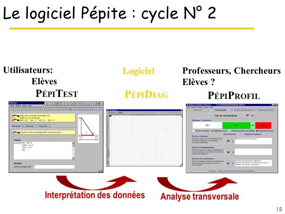 18 Le logiciel Pépite : cycle N° 2 P ÉPI T EST P ÉPI P ROFIL Analyse transversale Utilisateurs: Elèves Professeurs, Chercheurs Elèves .