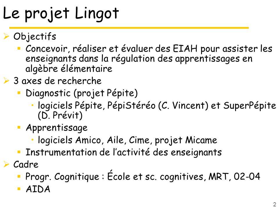 3 Projet pluridisciplinaire IA Didactique des Mathématiques Environnements Informatiques dApprentissage Humain Psychologie et Ergonomie Cognitive IHM Informatique Enseignants Formateurs ACA