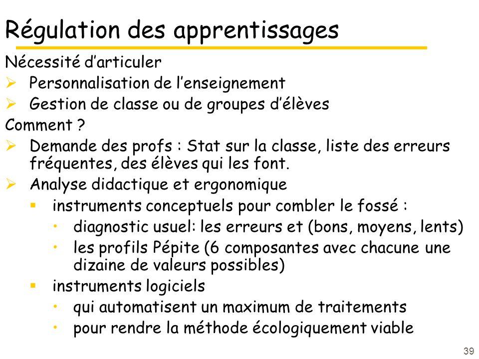 39 Régulation des apprentissages Nécessité darticuler Personnalisation de lenseignement Gestion de classe ou de groupes délèves Comment .