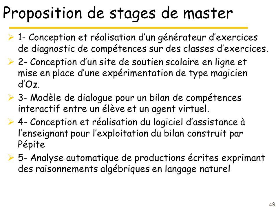 49 Proposition de stages de master 1- Conception et réalisation dun générateur dexercices de diagnostic de compétences sur des classes dexercices.
