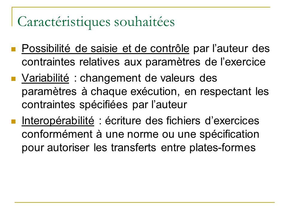 Caractéristiques souhaitées Possibilité de saisie et de contrôle par lauteur des contraintes relatives aux paramètres de lexercice Variabilité : chang