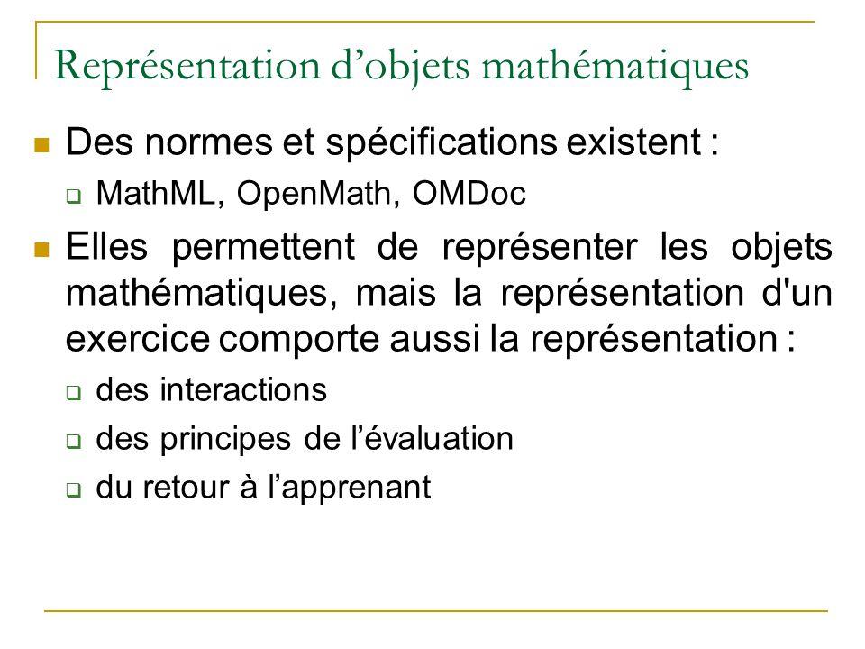 Représentation dobjets mathématiques Des normes et spécifications existent : MathML, OpenMath, OMDoc Elles permettent de représenter les objets mathém