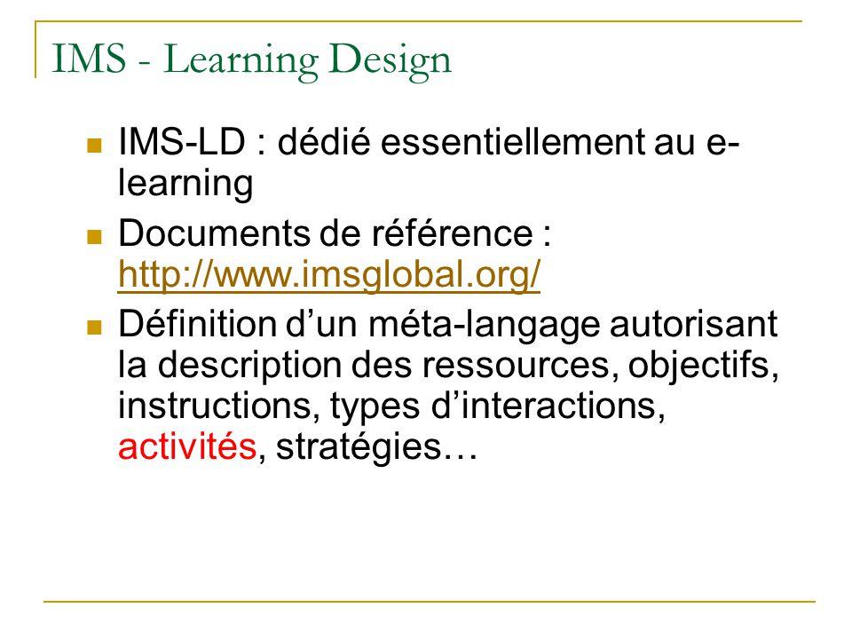 IMS - QTI Un « learning object » de la spécification IMS-LD est censé contenir des questionnaires pour vérifier lacquisition des connaissances Doù définition de la spécification IMS- QTI (Question and Test Interoperability), modèle de questionnaires et de tests But de IMS-QTI : permettre léchange de questionnaires et de tests entre différents Learning Management System (LMS)