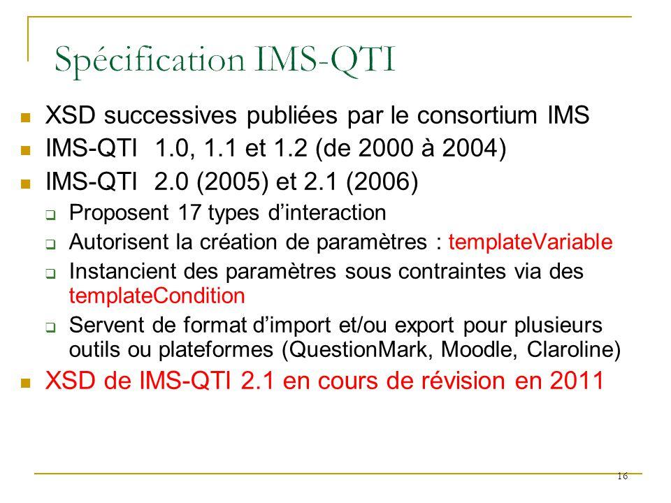 XSD successives publiées par le consortium IMS IMS-QTI 1.0, 1.1 et 1.2 (de 2000 à 2004) IMS-QTI 2.0 (2005) et 2.1 (2006) Proposent 17 types dinteracti