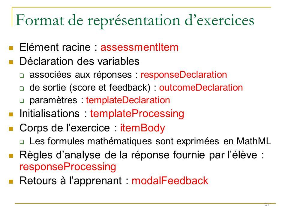 Elément racine : assessmentItem Déclaration des variables associées aux réponses : responseDeclaration de sortie (score et feedback) : outcomeDeclarat