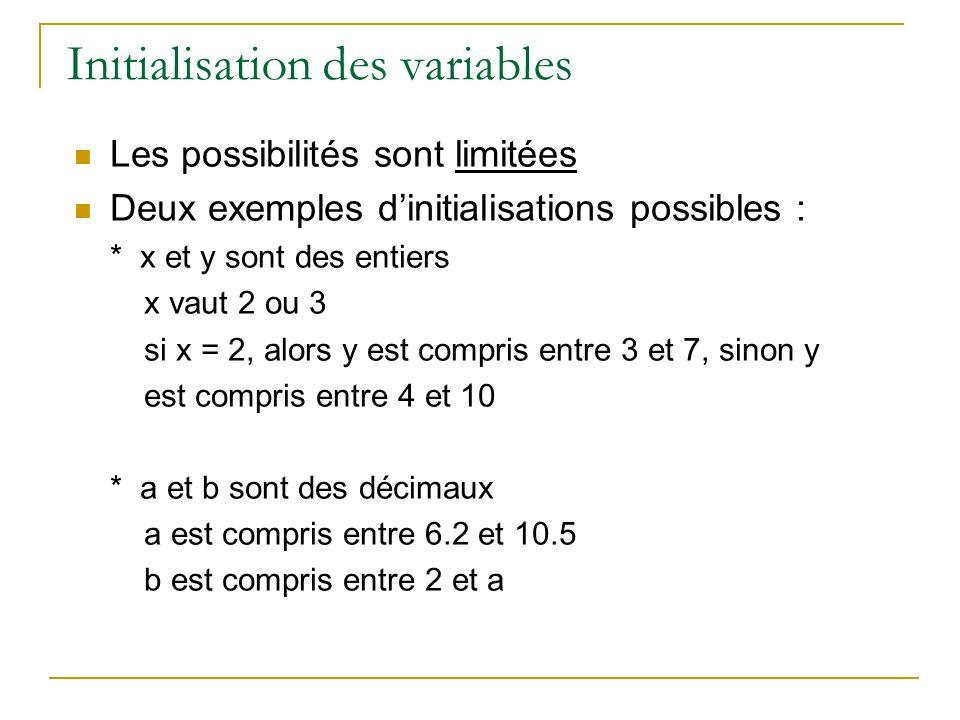 Initialisation des variables Les possibilités sont limitées Deux exemples dinitialisations possibles : * x et y sont des entiers x vaut 2 ou 3 si x =