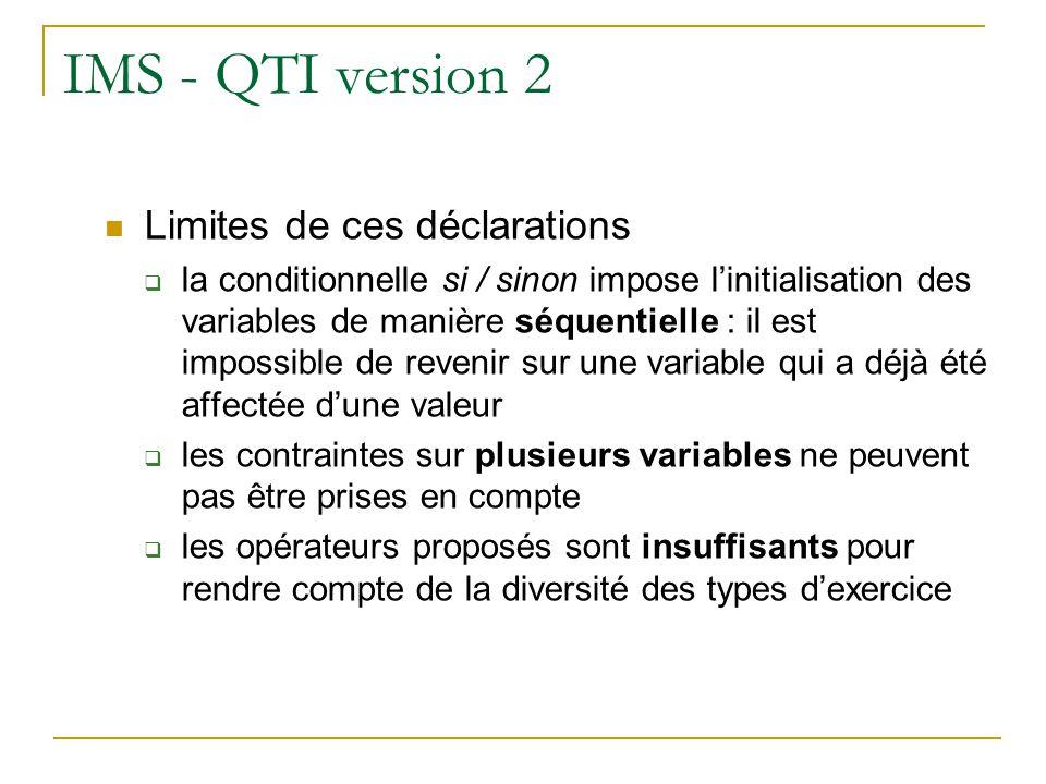 IMS - QTI version 2 Exemple : les variables a, b et c sont telles que 2 <= a < 7 et a != 4 2 <= b < 7 et b != 4 a et b premiers entre eux 2 <= c < 5 2 <= d < 5 si a et b sont choisis entre 2 et 6, on ne peut plus revenir sur ce choix pour imposer quils soient, en plus, différents de 4 contrainte entre deux variables impossible à formuler