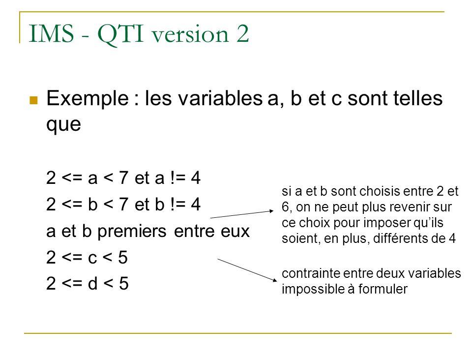 IMS - QTI version 2 Exemple : les variables a, b et c sont telles que 2 <= a < 7 et a != 4 2 <= b < 7 et b != 4 a et b premiers entre eux 2 <= c < 5 2