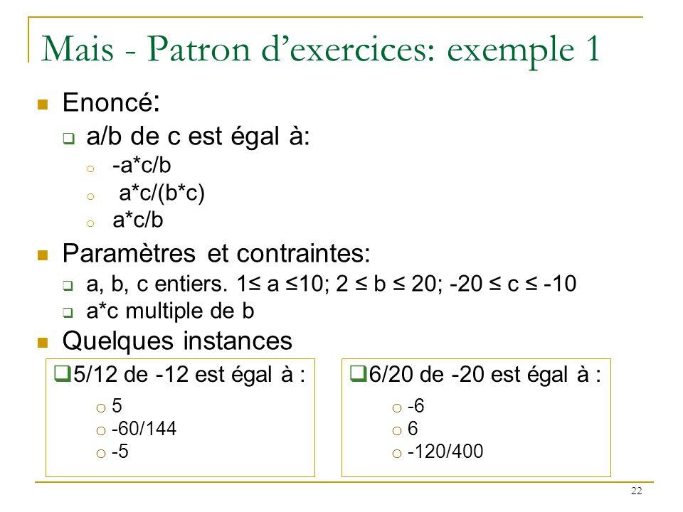23 Mais - Patrons dexercices : exemple 2 Enoncé: Complète : a * (… + c) = b * … + … Paramètres et contraintes: a, b, c entiers entre 2 et 20 a 4, a 9, a 16, c 4, c 9, c 16 a*c est un carré Quelques instances: 8 * (… + 2) = 13 * … + … 3 * (… + 12) = 6 * … + …
