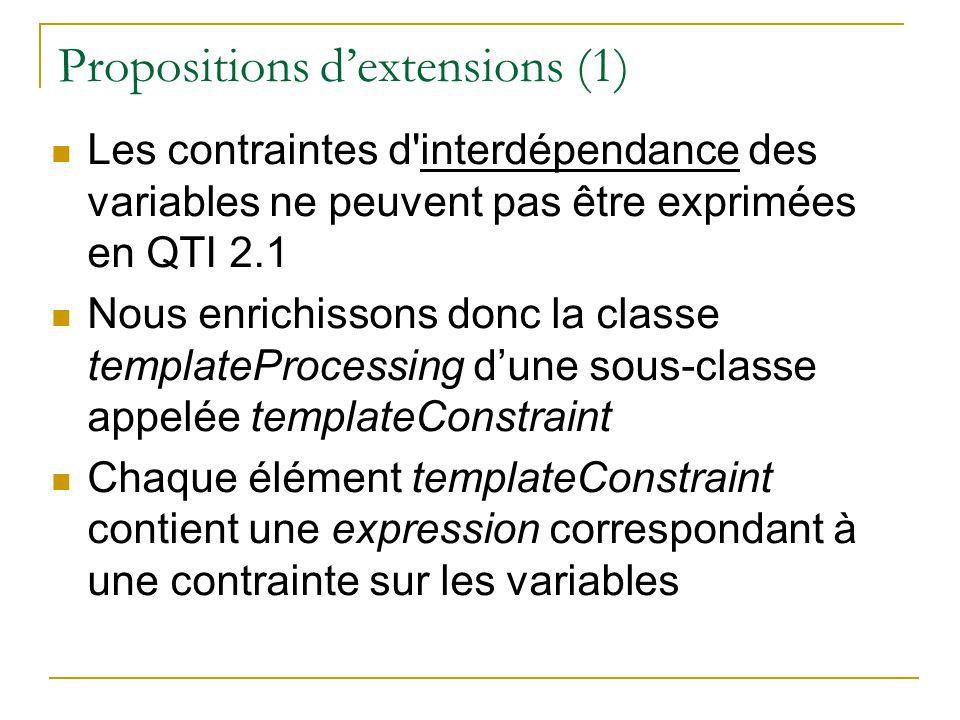 Propositions dextensions (1) Les contraintes d'interdépendance des variables ne peuvent pas être exprimées en QTI 2.1 Nous enrichissons donc la classe