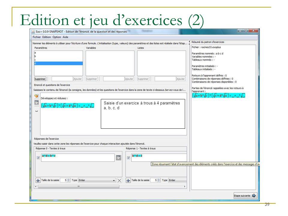 40 QTI areaMathML area QTI-CE (QTI-Constraint Editor) fait partie de QTI-Editor, il permet de déclarer les paramètres dun patron dexercice et les contraintes entre ces paramètres